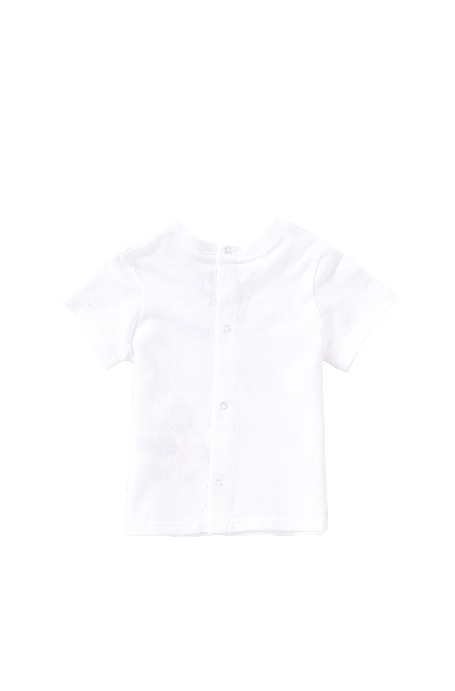 Newborn's t-shirt in cotton with popper placket at the back: 'J95190'