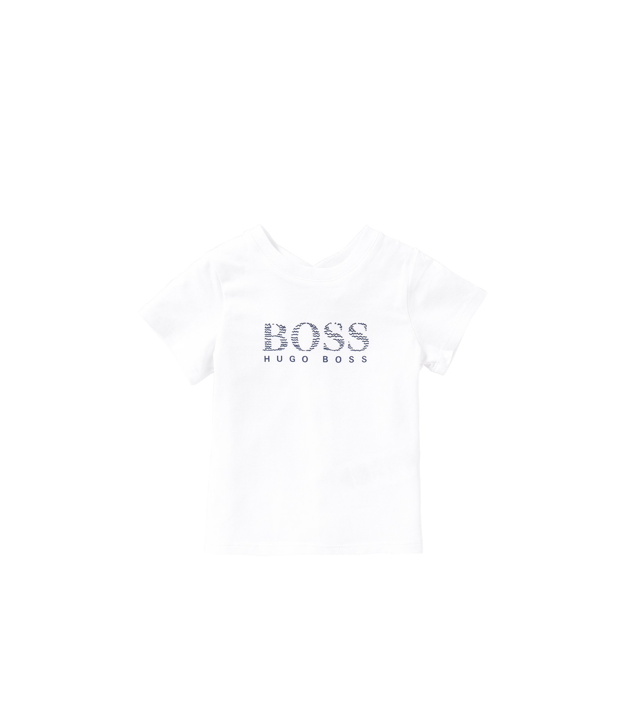 Newborn's t-shirt in cotton with popper placket at the back: 'J95190', White