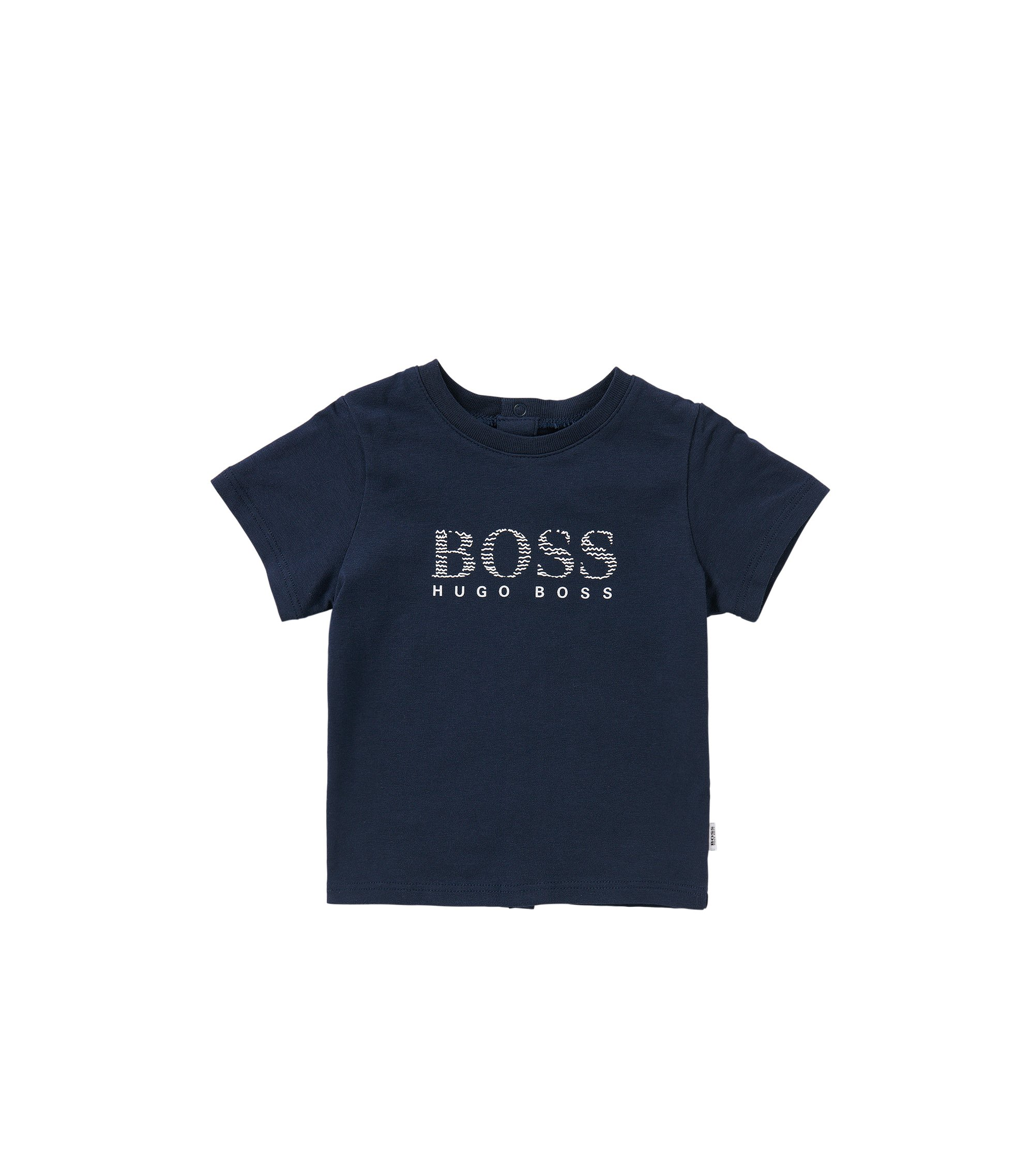 Newborn's t-shirt in cotton with popper placket at the back: 'J95190', Dark Blue