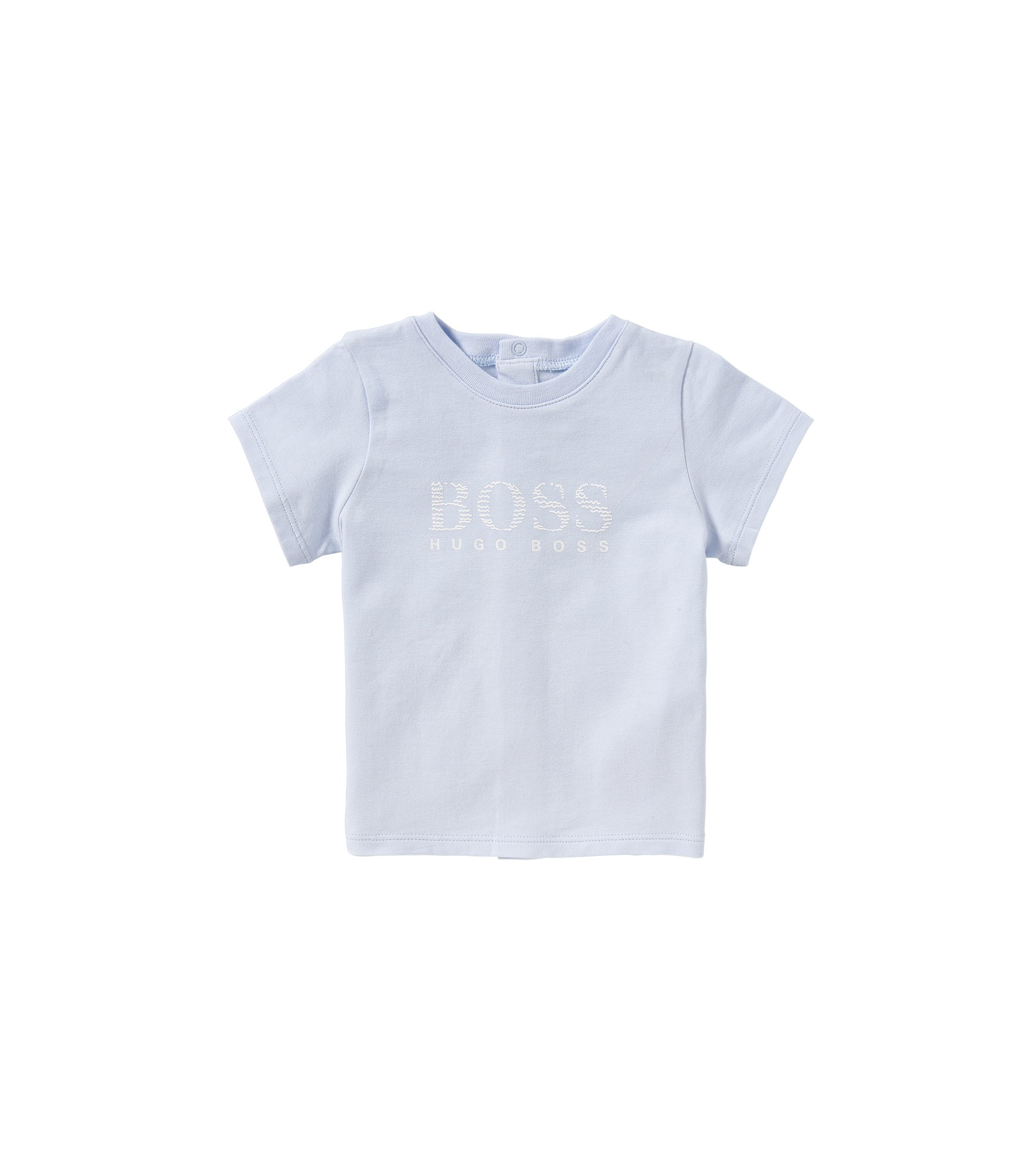 Newborn's t-shirt in cotton with popper placket at the back: 'J95190', Light Blue