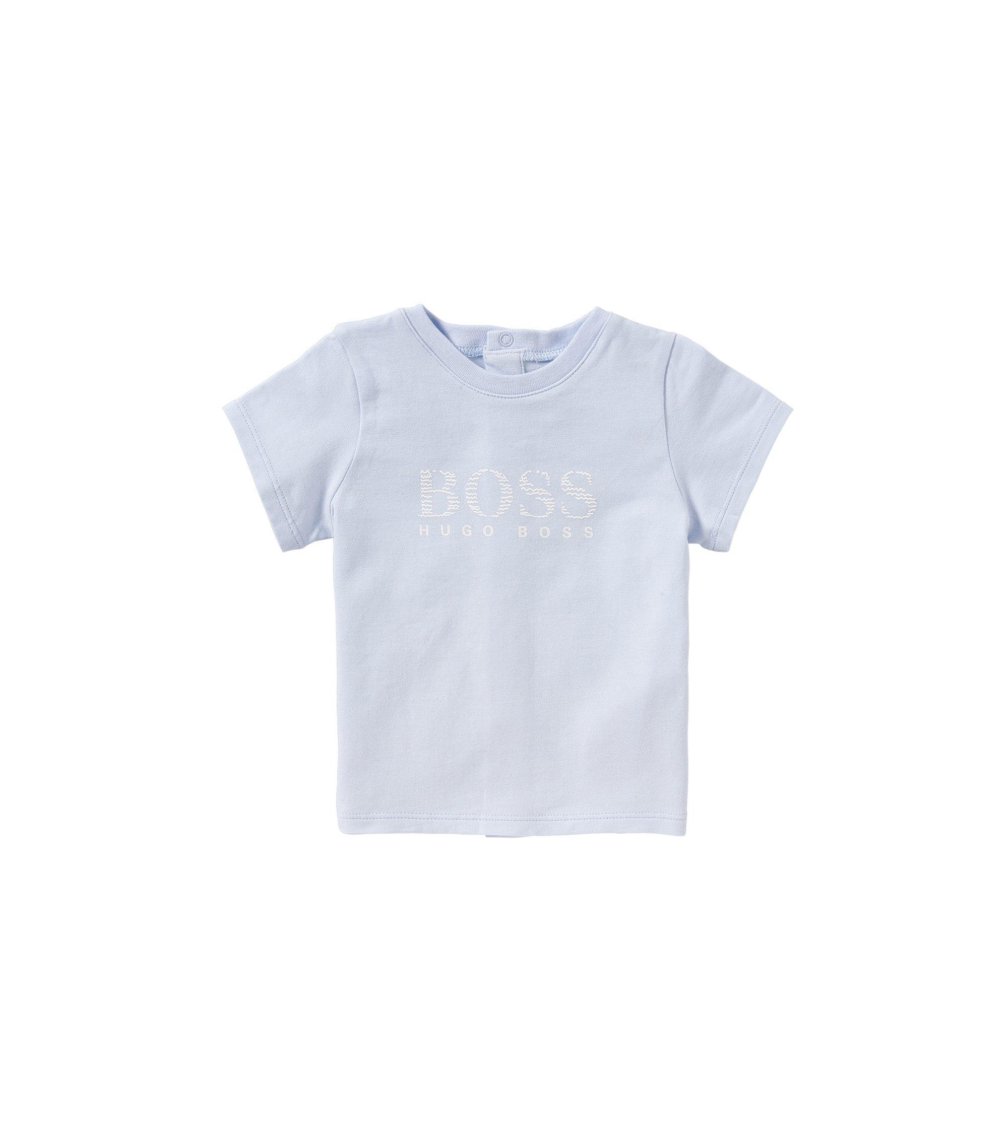 Baby-T-Shirt aus Baumwolle mit rückseitiger Druckknopfleiste: 'J95190', Hellblau