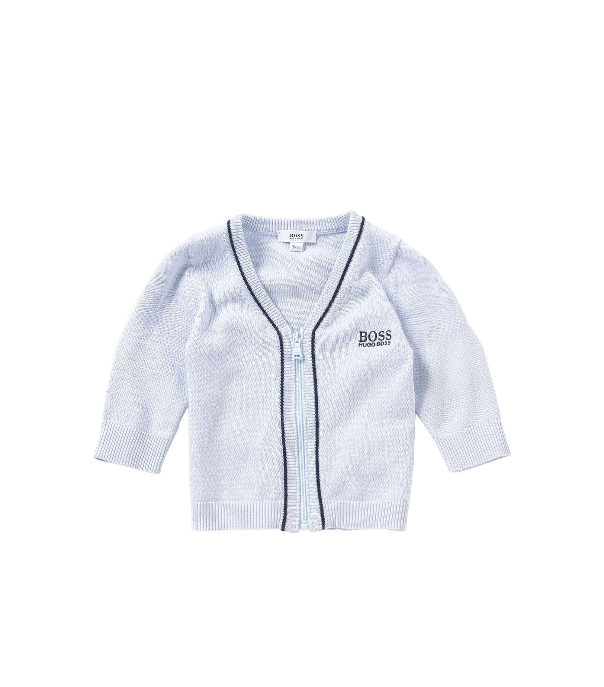 Chaqueta de punto para bebé en mezcla de algodón y modal con cremallera: 'J95195', Celeste
