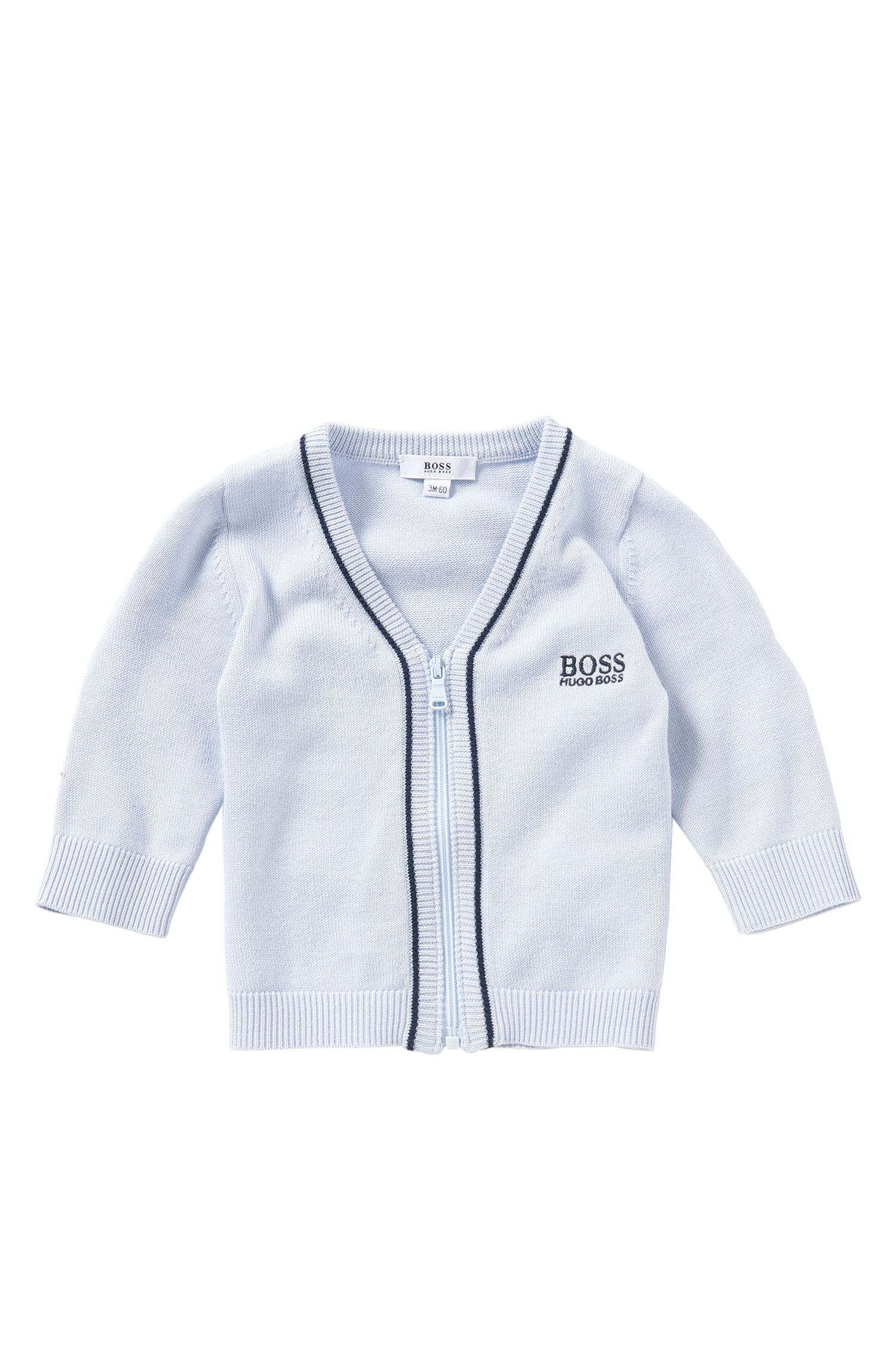 Newborn's cardigan in cotton and modal blend with zip: 'J95195'