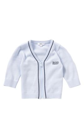 Newborn's cardigan in cotton and modal blend with zip: 'J95195', Light Blue