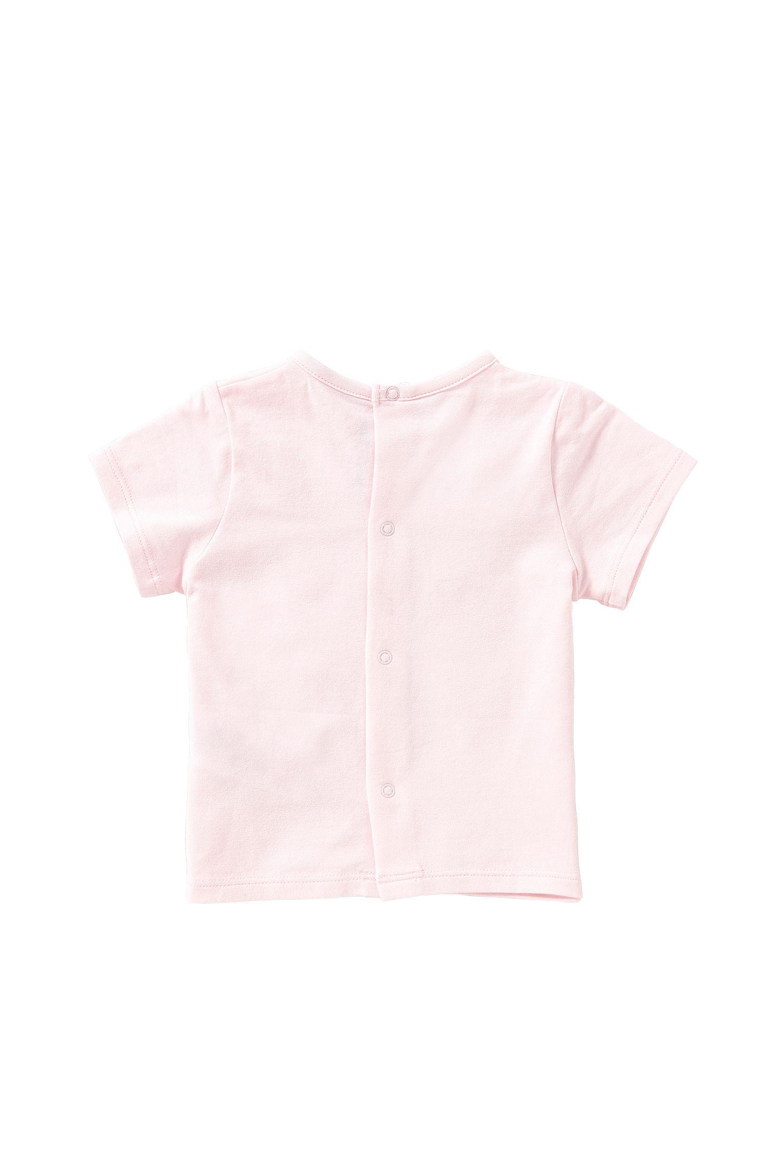 T-shirt pour bébé en coton extensible avec patte de boutonnage à boutons-pression dans le dos: «J95196», Rose clair