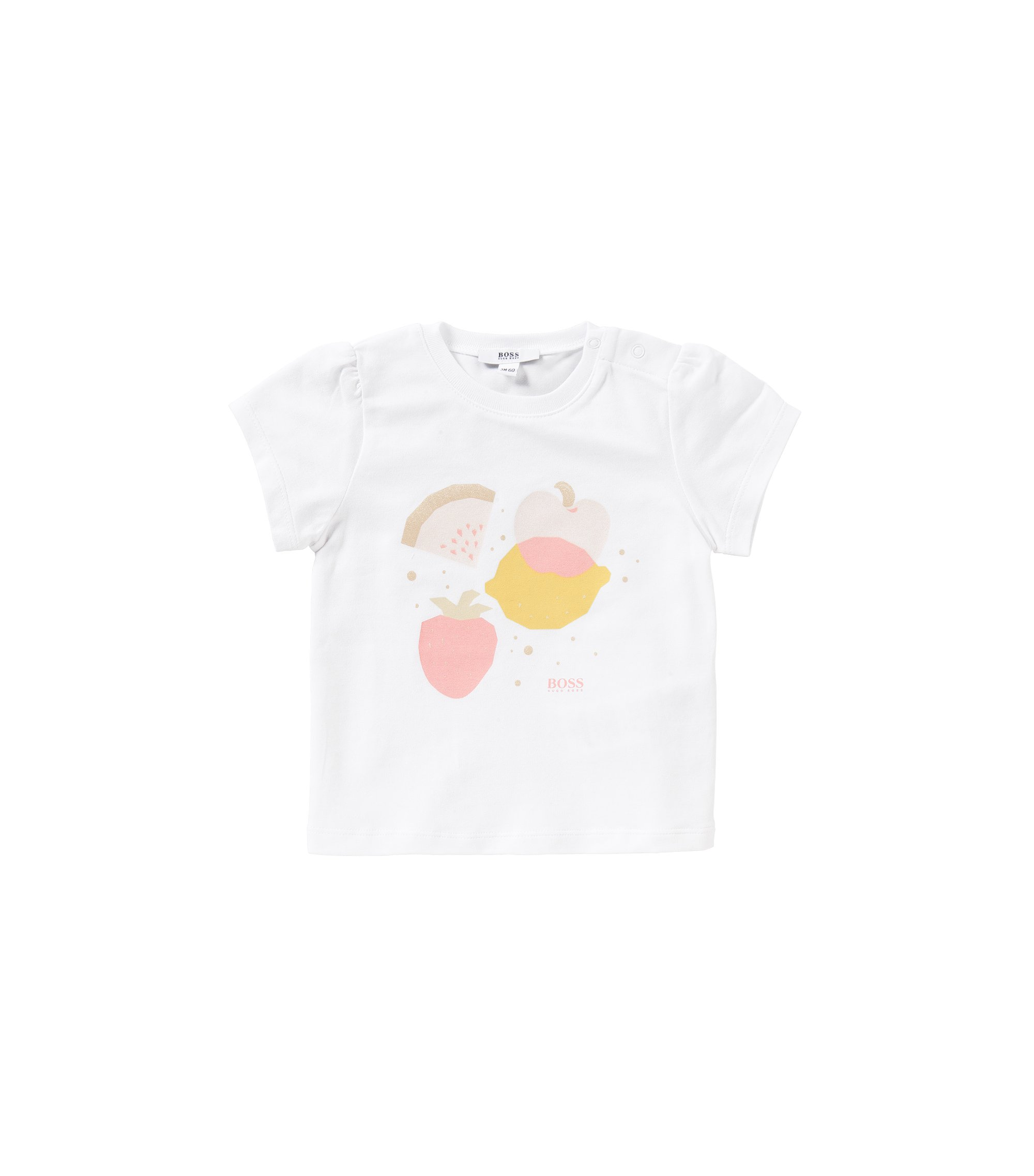 Newborn's t-shirt in stretch cotton with printed front motif: 'J95197', White