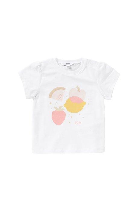 Baby-T-Shirt aus Stretch-Baumwolle mit Front-Print: 'J95197', Weiß