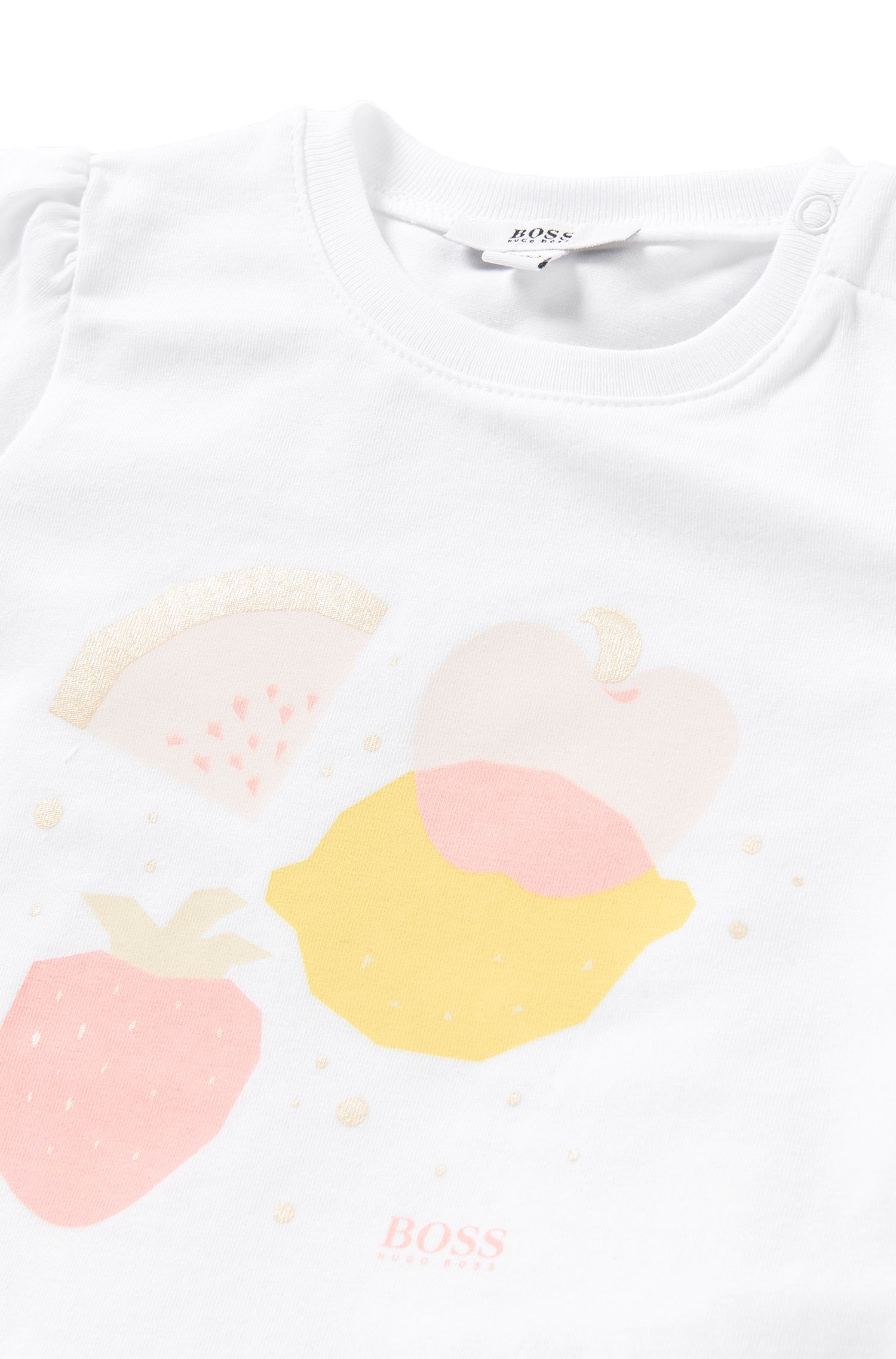 Newborn's t-shirt in stretch cotton with printed front motif: 'J95197'