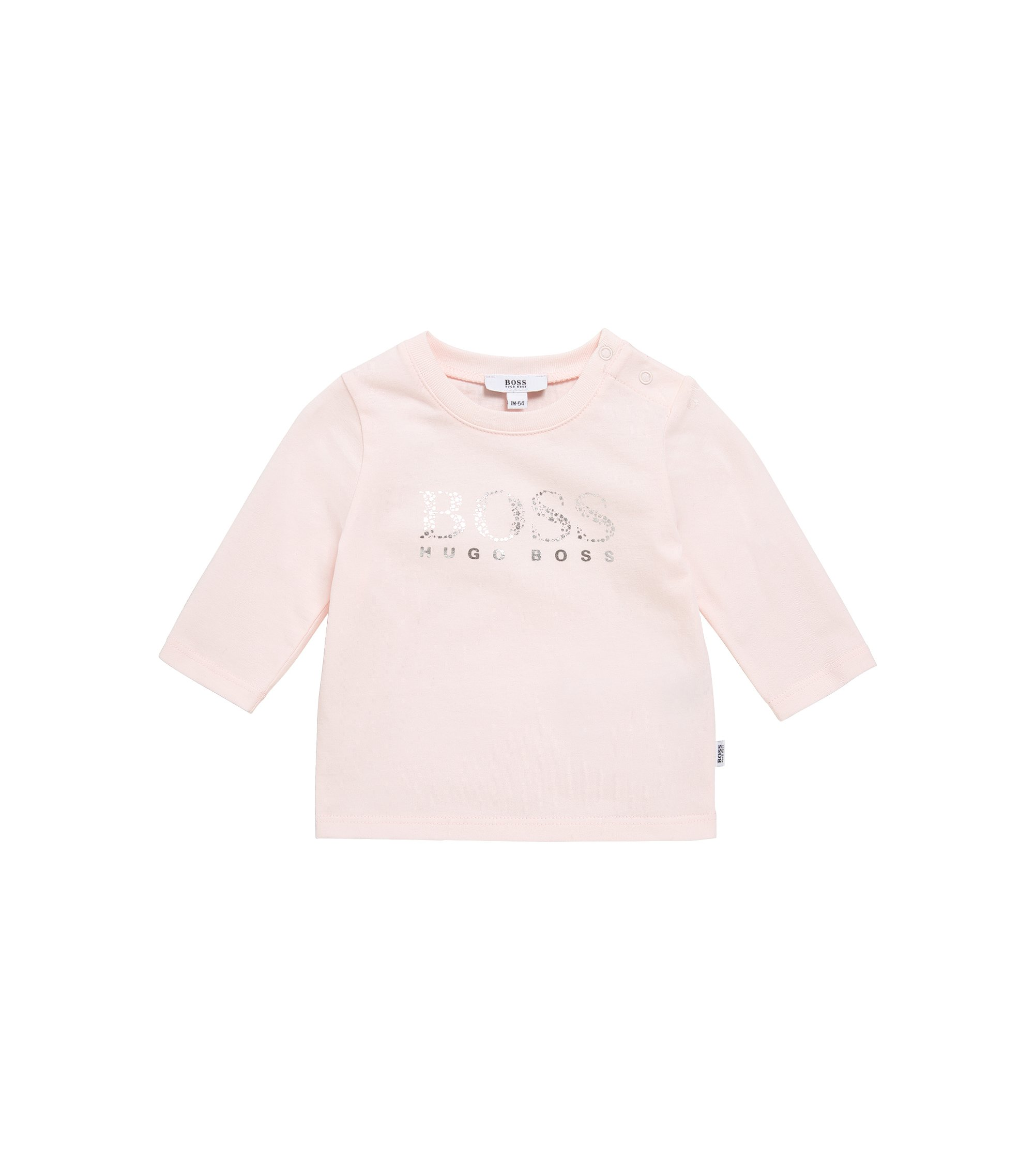 Newborn's long-sleeved top in stretch cotton with metallic print: 'J95203', light pink