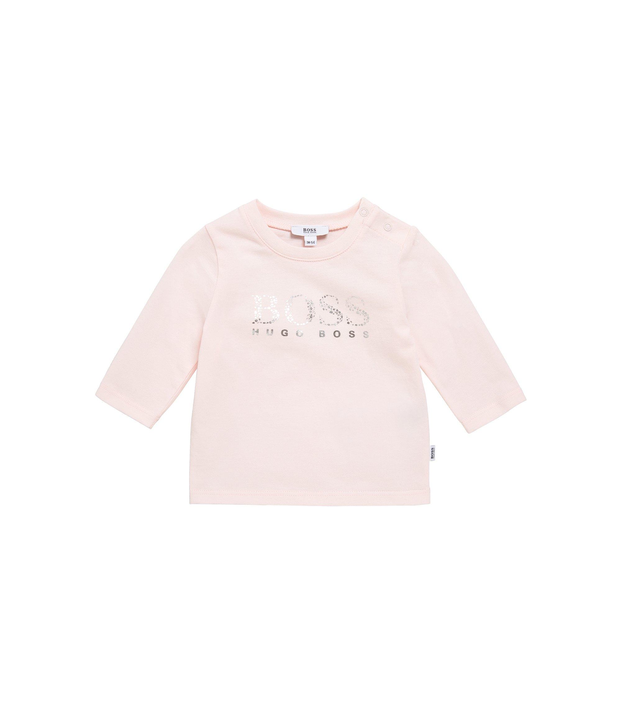 Baby-Longsleeve aus elastischer Baumwolle mit Metallic-Print: 'J95203', Hellrosa