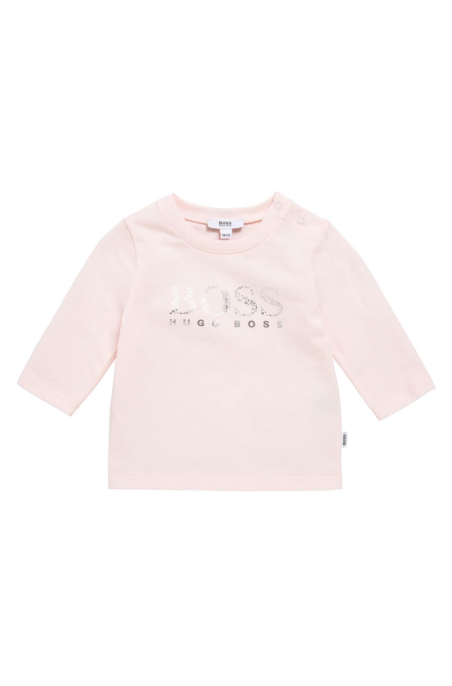 T-shirt à manches longues pour bébé en coton extensible, avec impression métallisée: «J95203»