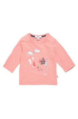 Newborns' long-sleeved printed shirt in cotton: 'J95204', light pink