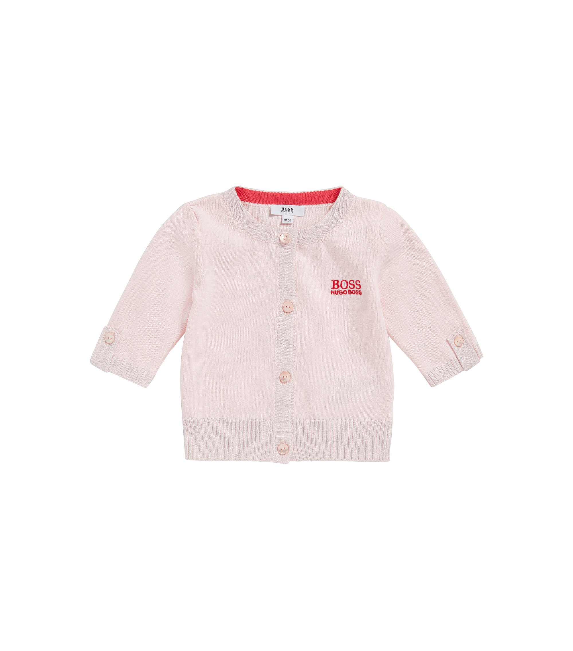 Newborns' cardigan in cotton blend with glittering cuffs: 'J95206', light pink