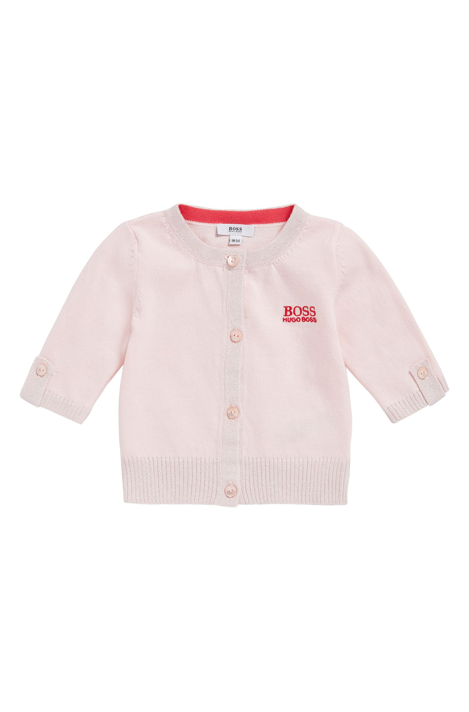 Newborns' cardigan in cotton blend with glittering cuffs: 'J95206'