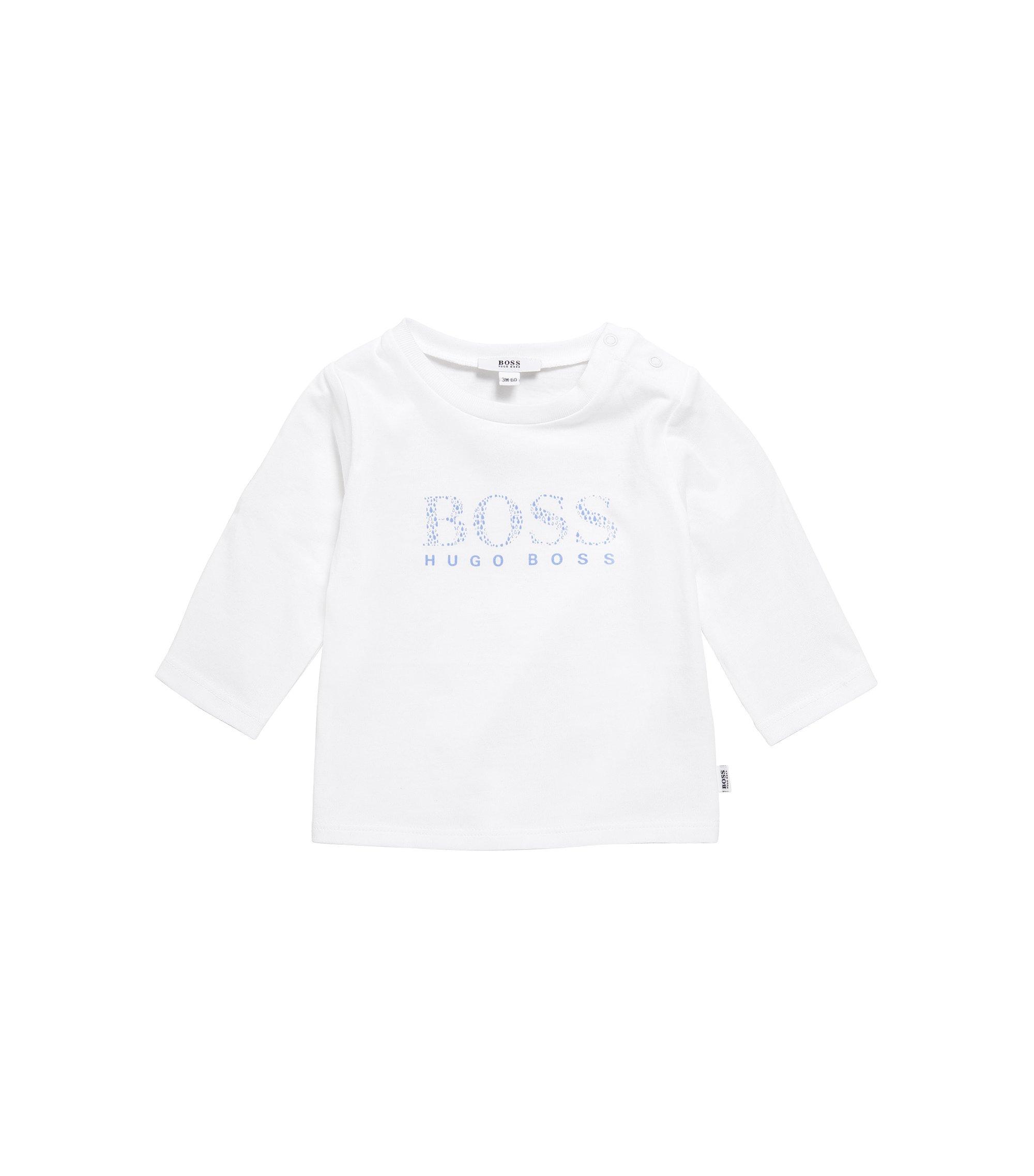 Camiseta de manga larga para bebé en algodón elástico con logotipo estampado: 'J95207', Blanco