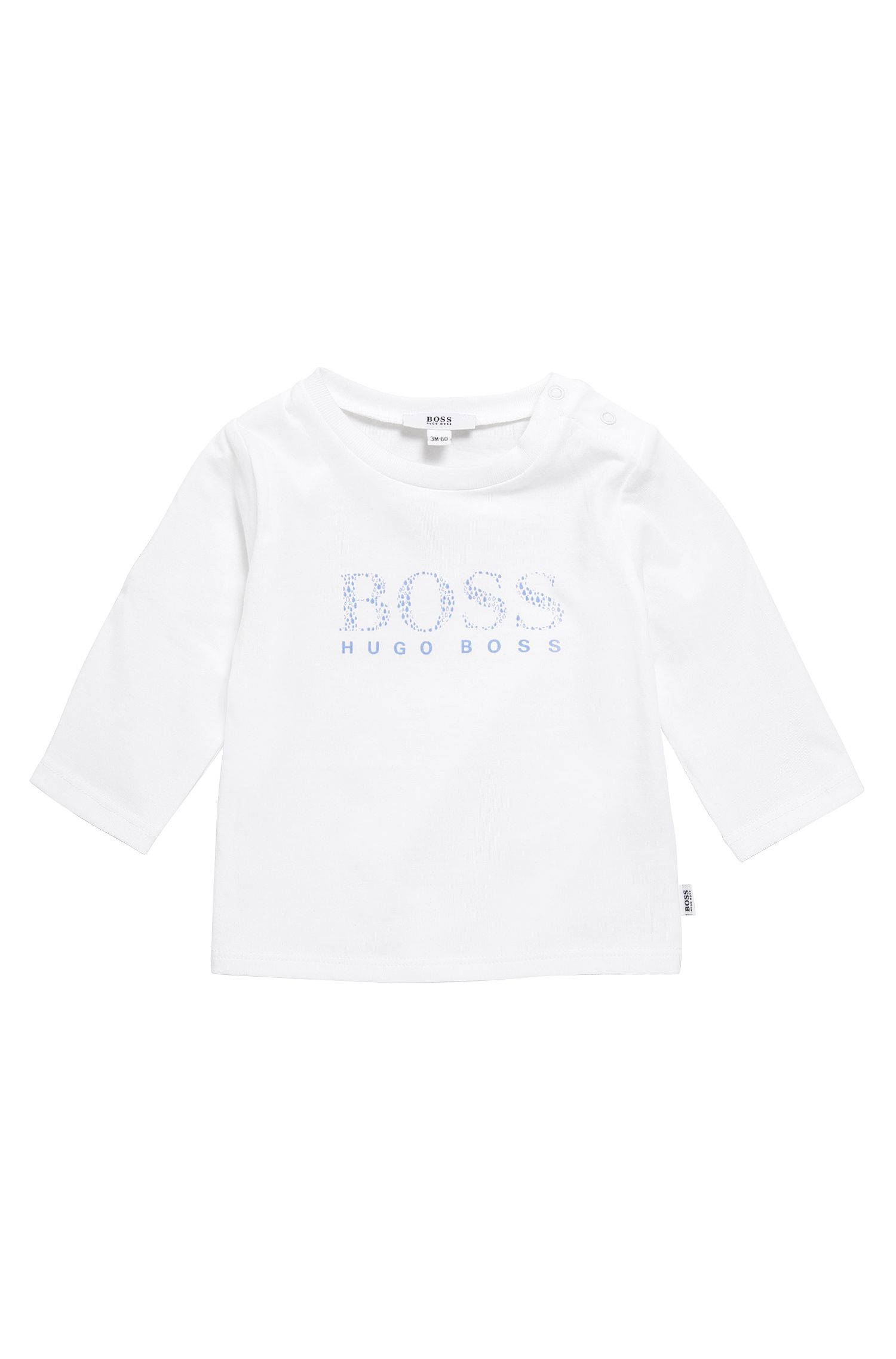 Newborn's long-sleeved shirt in stretch cotton with logo print: 'J95207'
