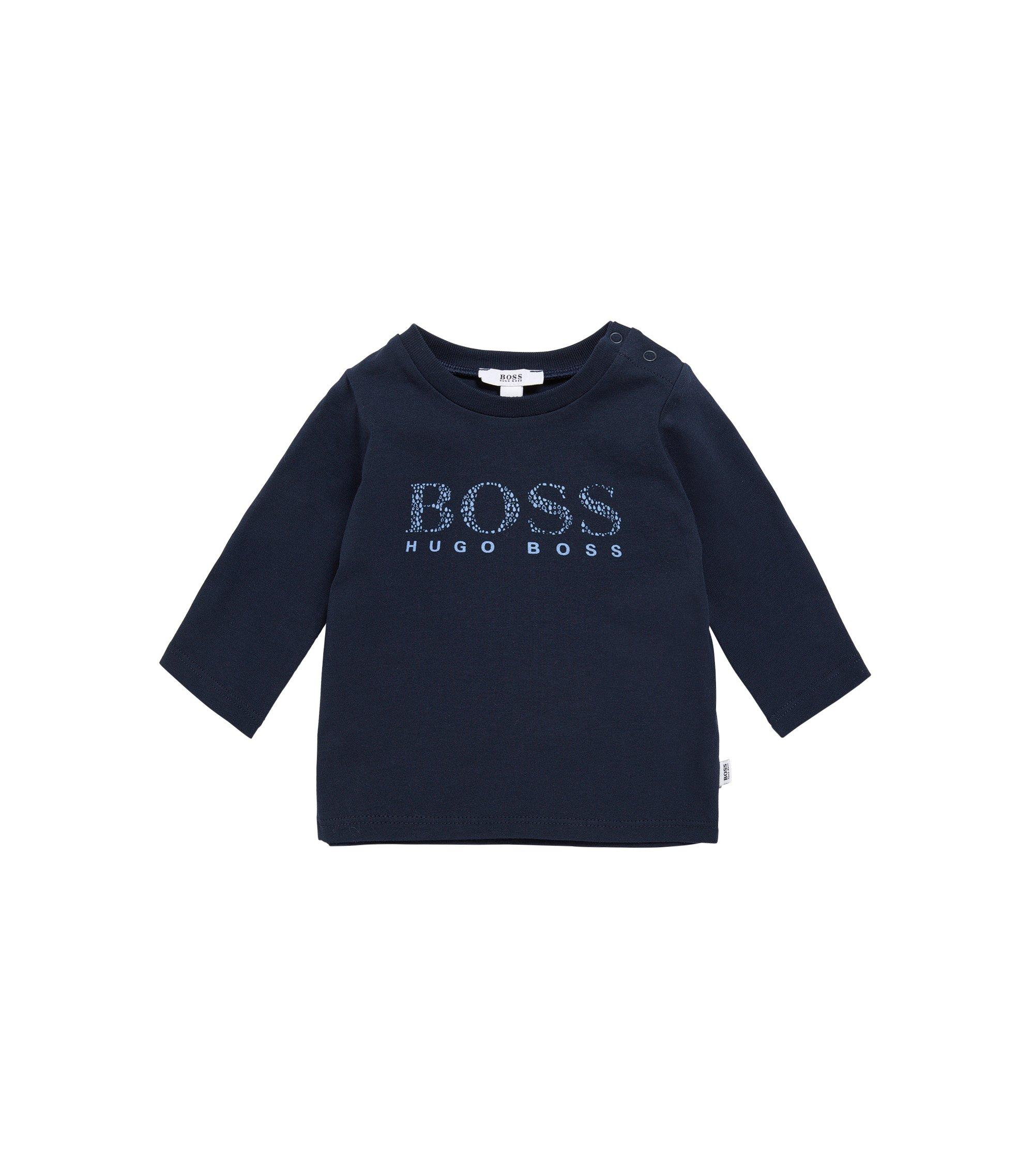 T-shirt à manches longues pour bébé en coton extensible à inscription logo: «J95207», Bleu foncé