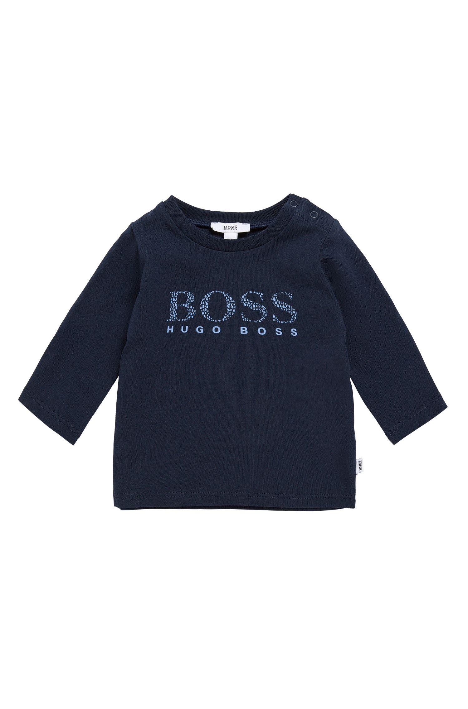 Camiseta de manga larga para bebé en algodón elástico con logotipo estampado: 'J95207'