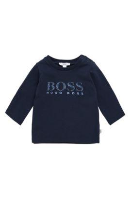Camiseta de manga larga para bebé en algodón elástico con logotipo estampado: 'J95207', Azul oscuro