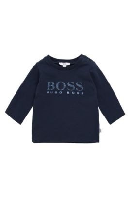 Newborn's long-sleeved shirt in stretch cotton with logo print: 'J95207', Dark Blue