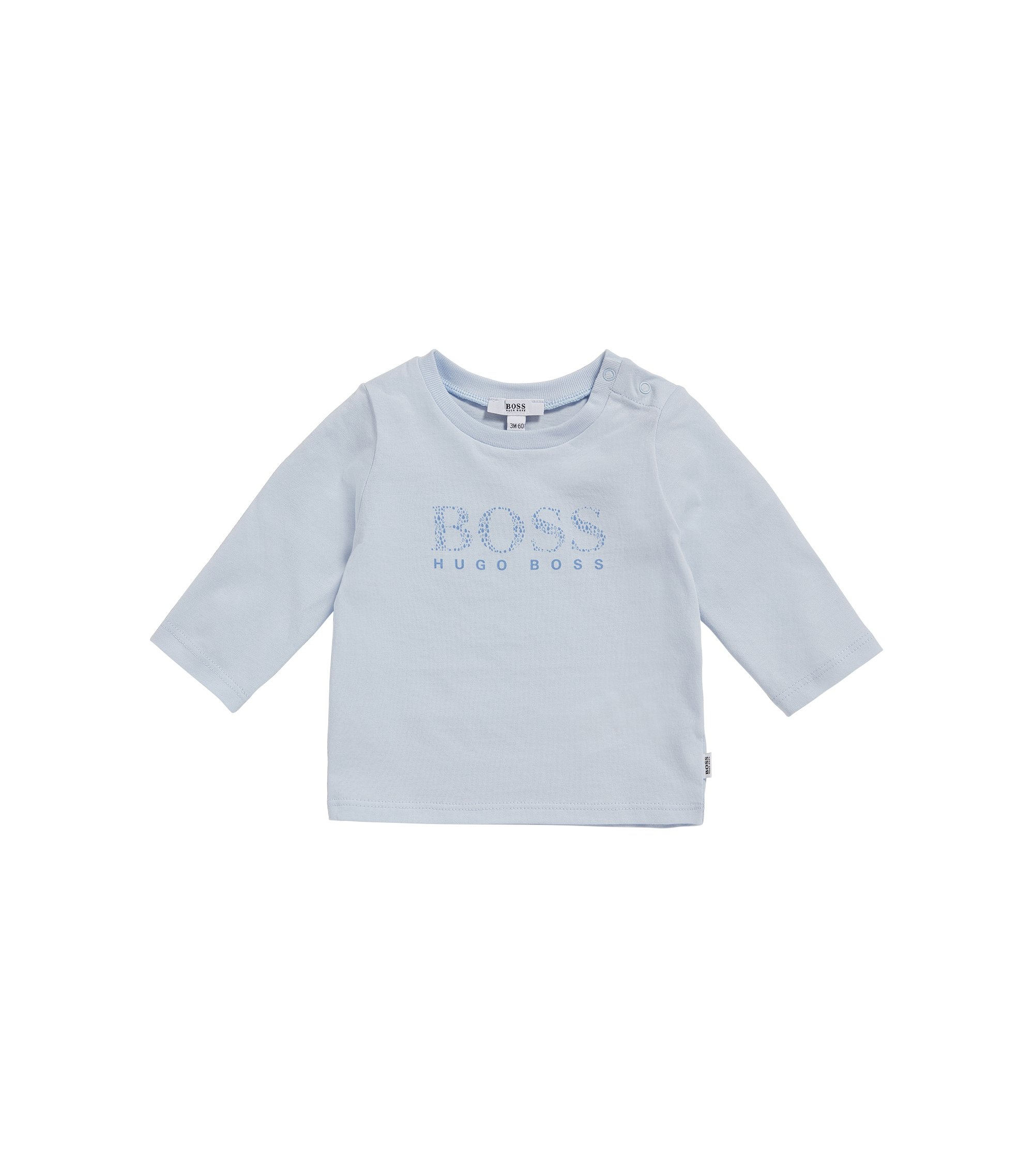Newborn's long-sleeved shirt in stretch cotton with logo print: 'J95207', Light Blue