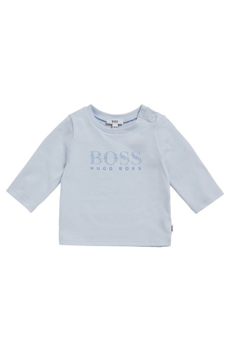 Baby-Longsleeve aus elastischer Baumwolle mit Logo-Print: 'J95207', Hellblau