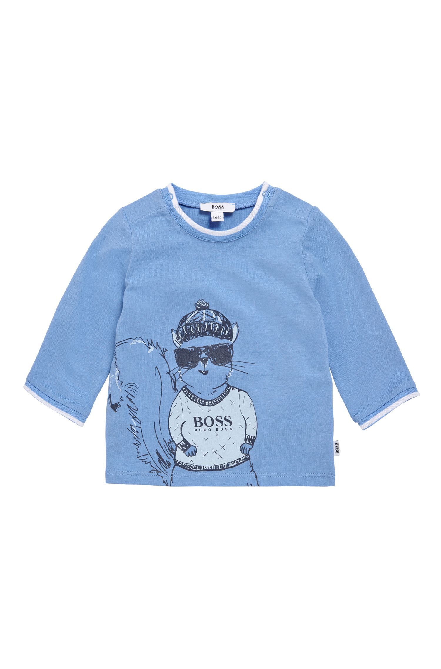 Newborn's long-sleeved shirt in stretch cotton with print: 'J95208'