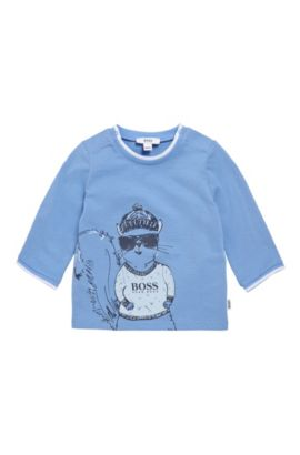 Newborn's long-sleeved shirt in stretch cotton with print: 'J95208', Light Blue