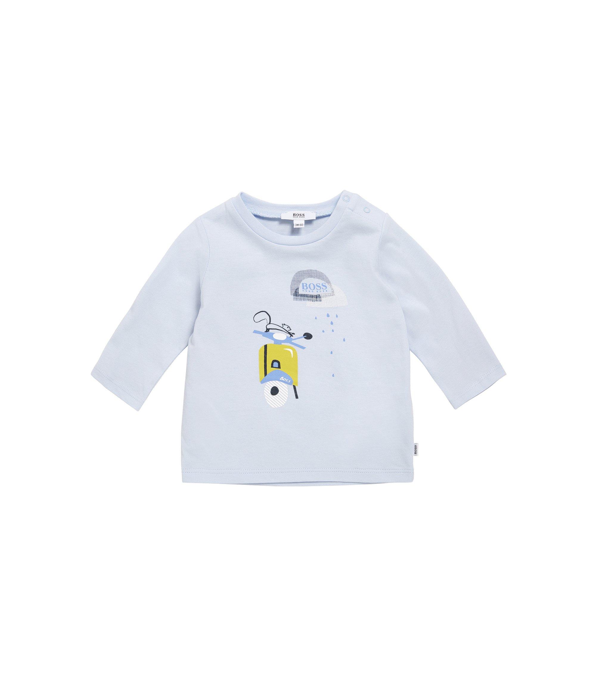 Newborns' long-sleeved printed shirt in cotton: 'J95209', Light Blue