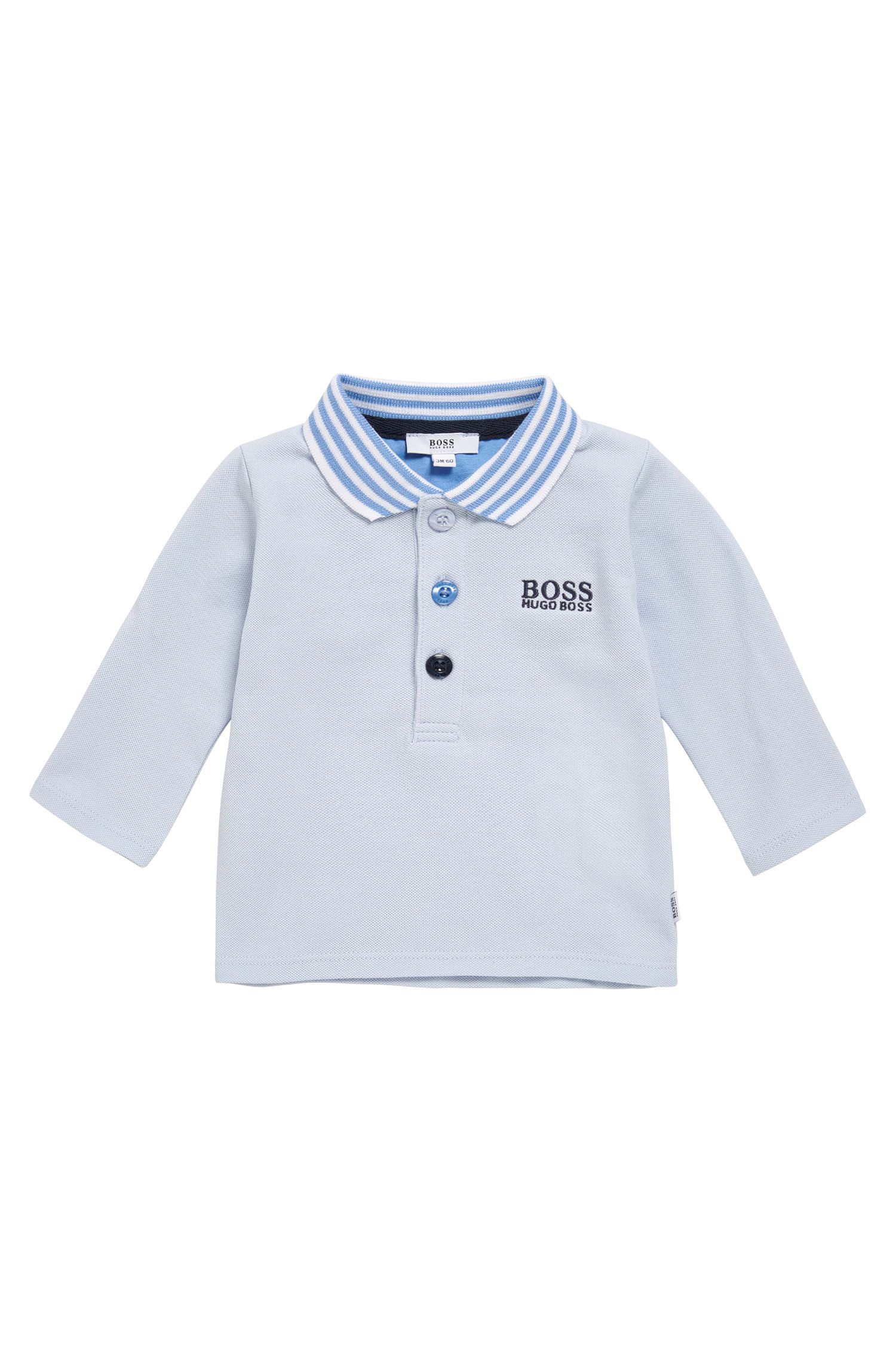 Newborn polo shirt in stretch cotton with contrasting stripes: 'J95210'