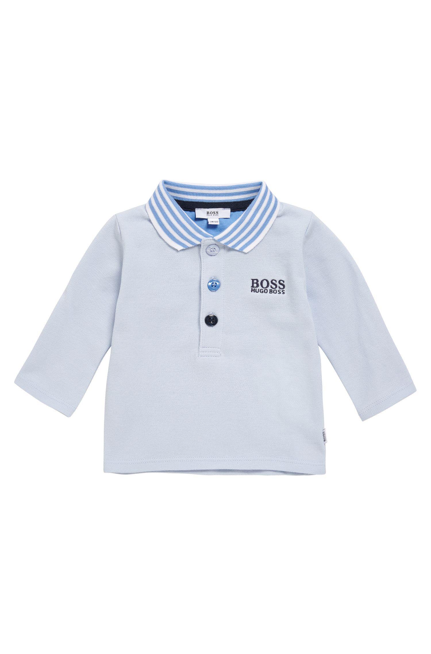 Polo pour bébé en coton extensible orné de rayures contrastantes: «J95210»