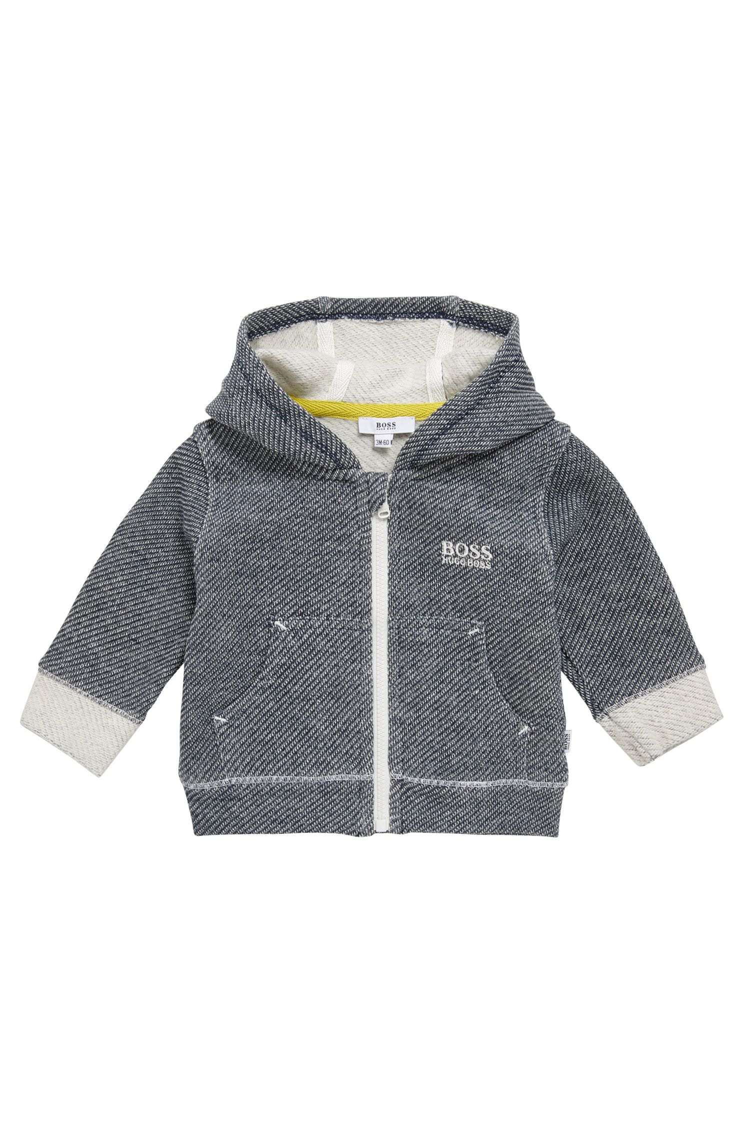 Patterned newborn sweatshirt jacket in stretch cotton with hood: 'J95211'