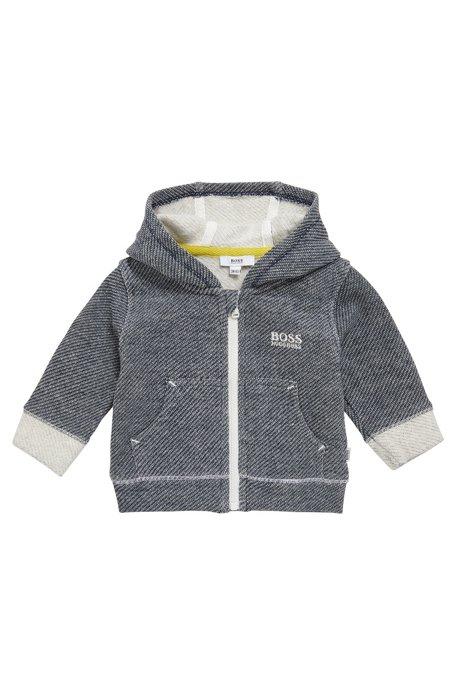 Gemusterte Baby-Sweatjacke aus Stretch-Baumwolle mit Kapuze: 'J95211', Dunkelblau