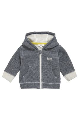 Patterned newborn sweatshirt jacket in stretch cotton with hood: 'J95211', Dark Blue
