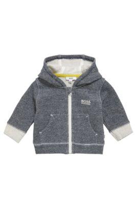 Blouson sweat pour bébé en coton à motif, à capuche: «J95211», Bleu foncé