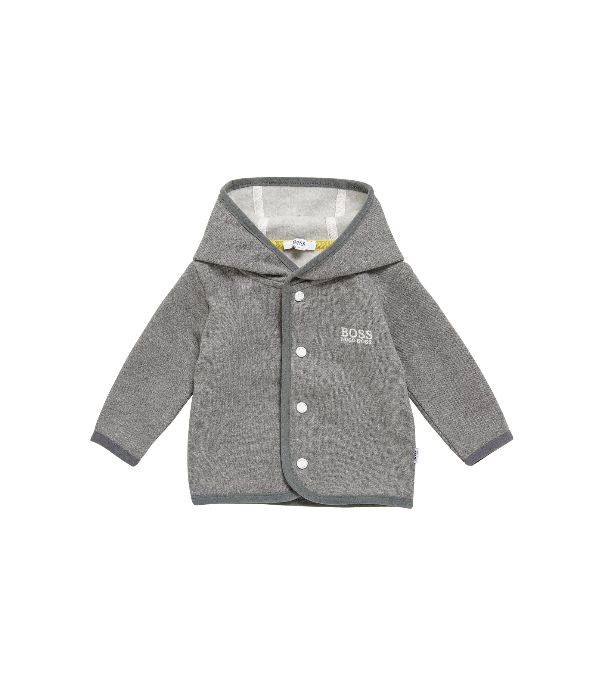 Blouson sweat pour bébé en coton mélangé, à capuche: «J95212», Gris