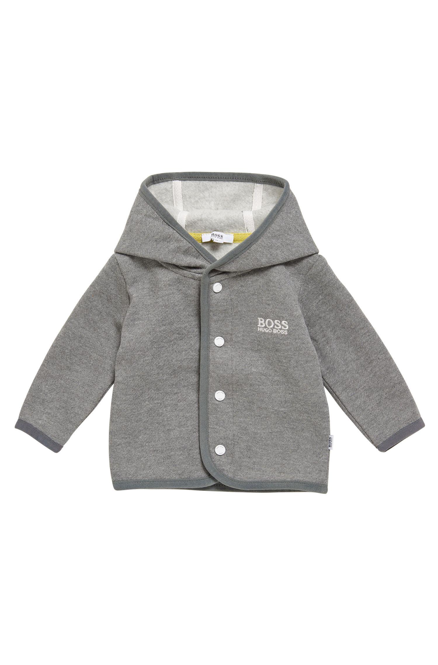 Giubbotto in felpa da neonato con cappuccio in misto cotone: 'J95212'