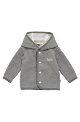 Newborn hooded sweatshirt jacket in cotton blend: 'J95212', Grey