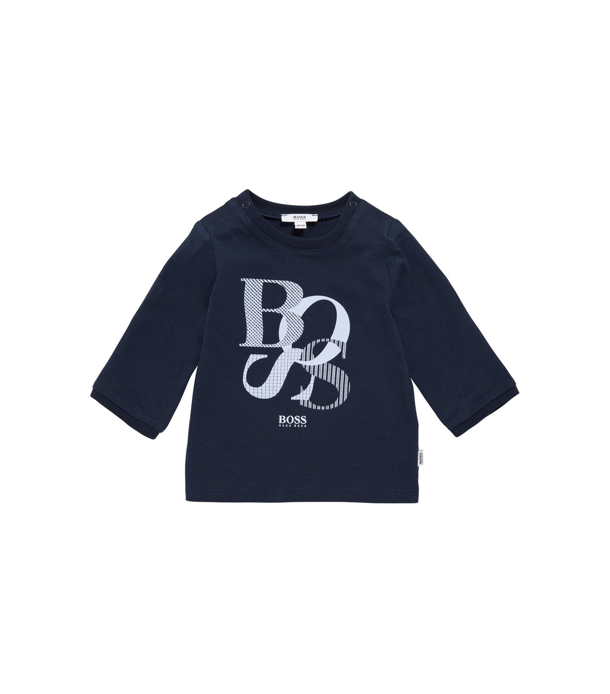 Camiseta de manga larga para bebé de algodón con estampado: 'J95214', Azul oscuro