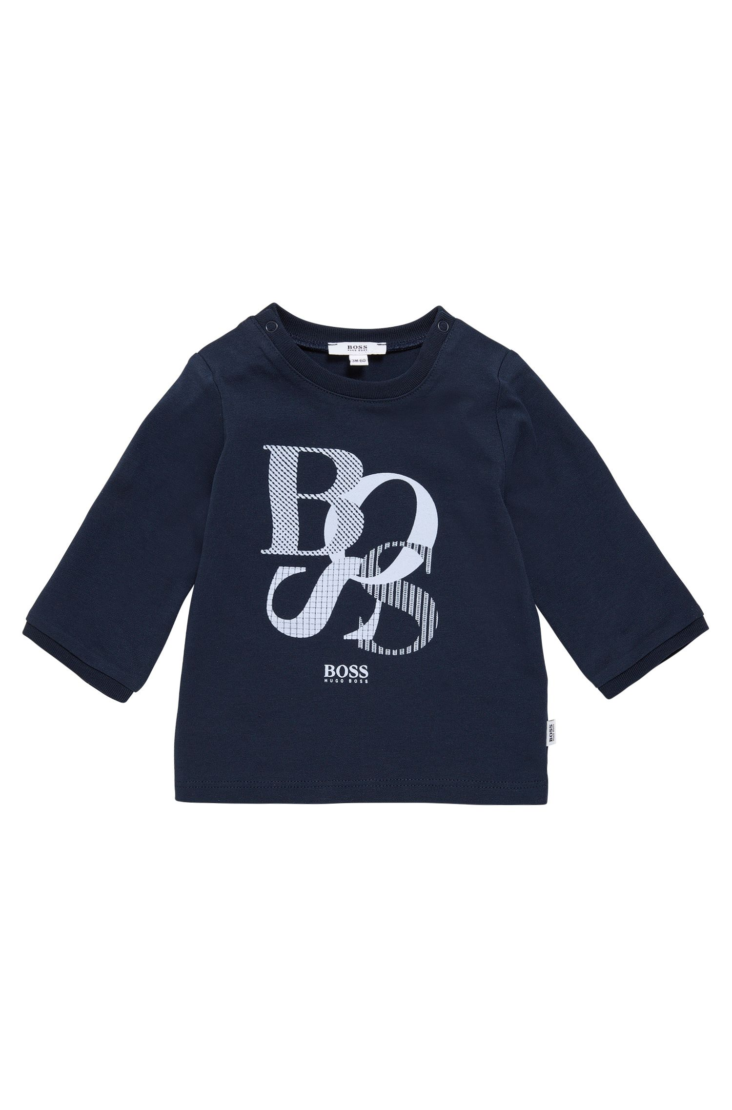 Babyshirt van katoen met lange mouwen en print: 'J95214'
