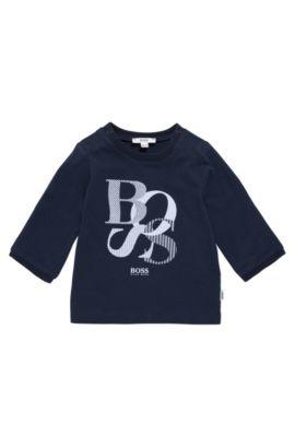 Babyshirt van katoen met lange mouwen en print: 'J95214', Donkerblauw