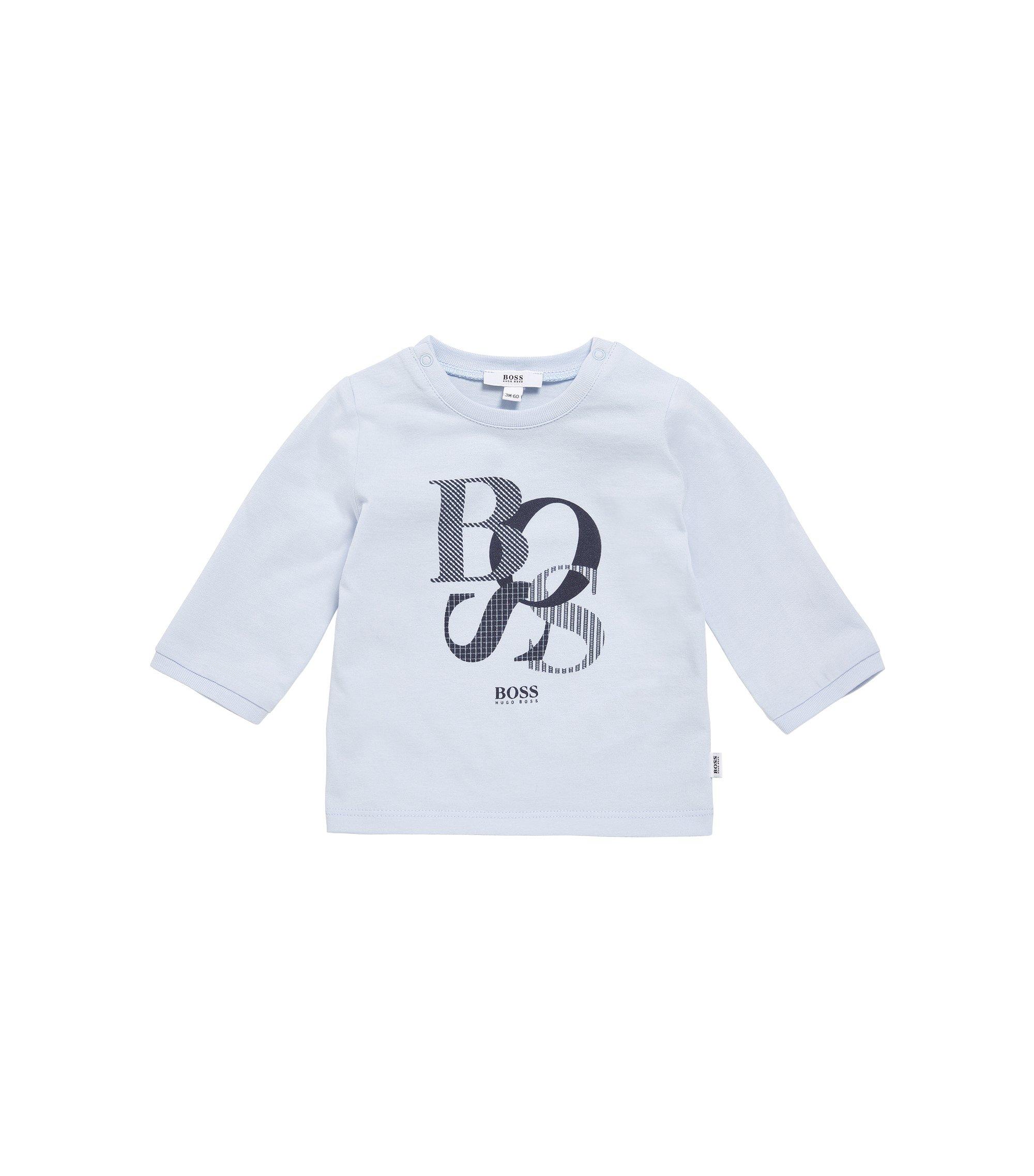 Babyshirt van katoen met lange mouwen en print: 'J95214', Lichtblauw