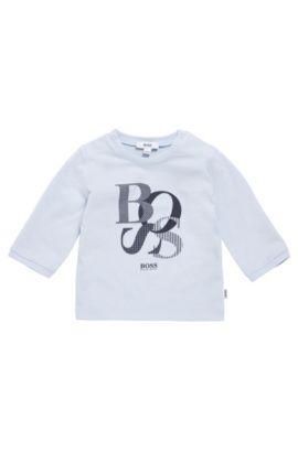 T-shirt imprimé à manches longues pour bébé en coton: «J95214», Bleu vif