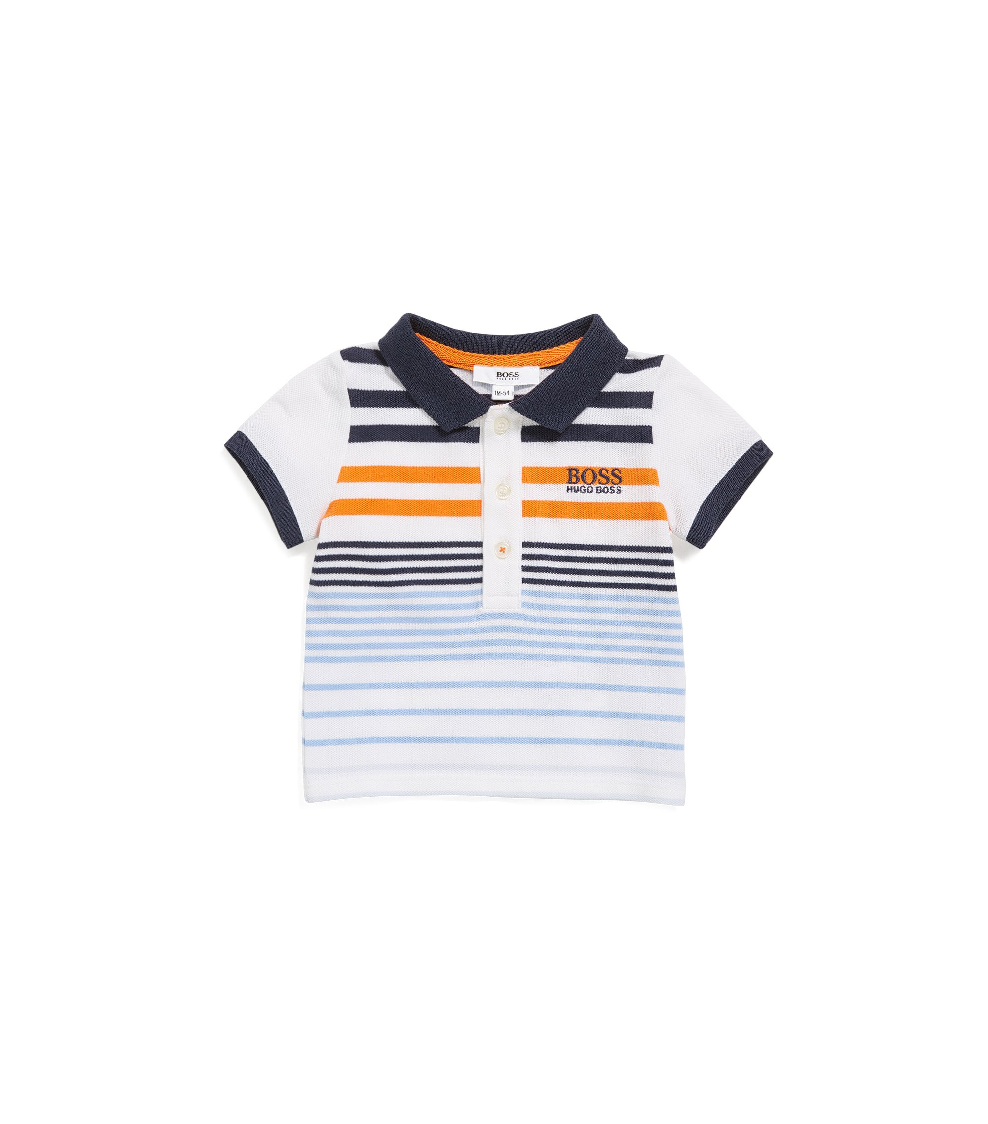 Baby polo shirt in stretch piqué, Patterned
