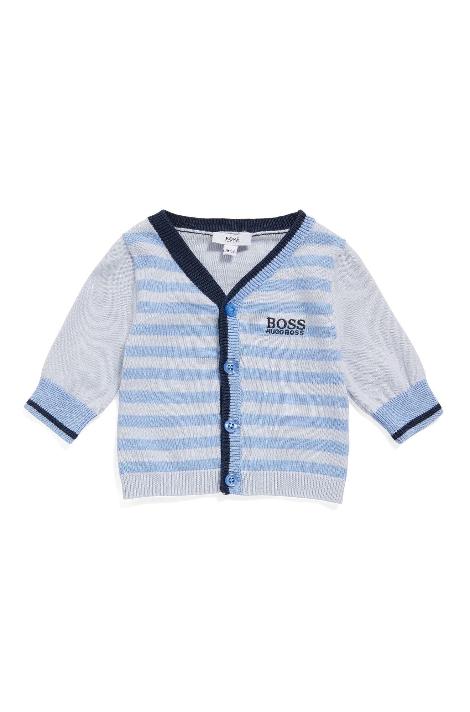 Newborn cardigan made from cotton in a striped design: 'J95221'