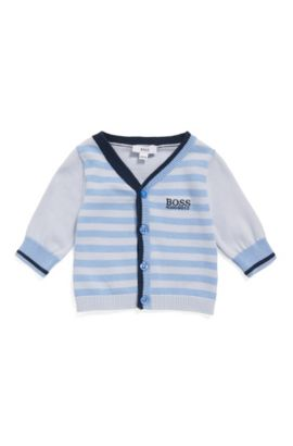 Newborn cardigan made from cotton in a striped design: 'J95221', Light Blue