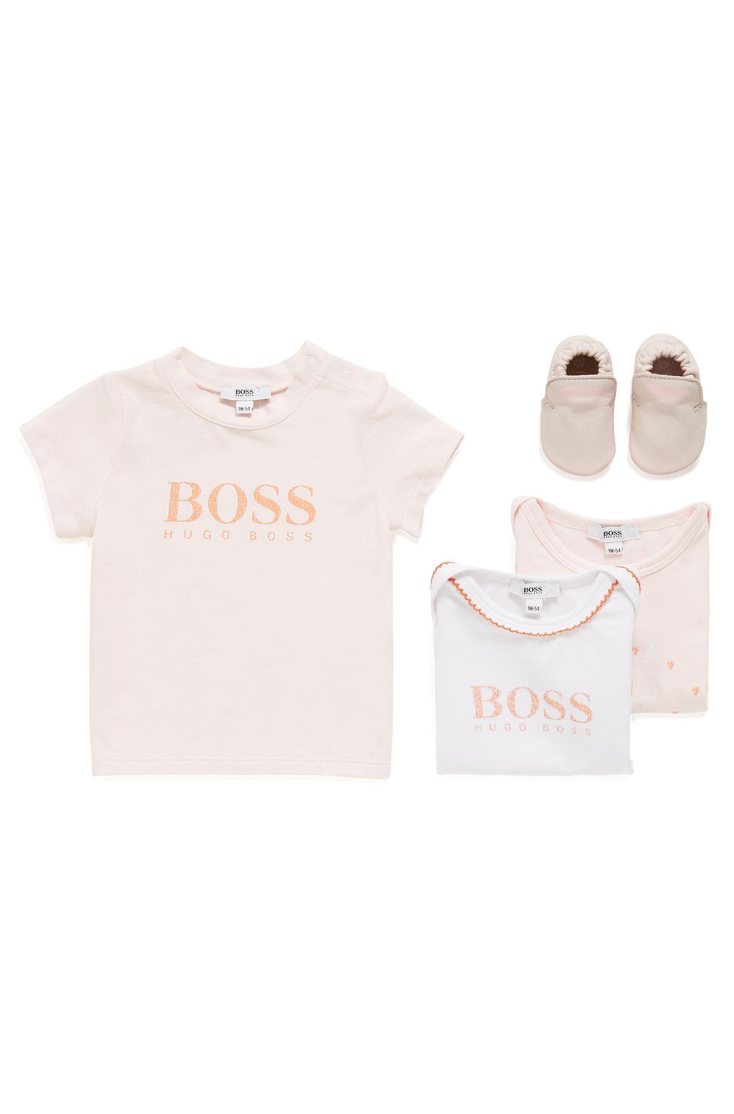 Baby-T-Shirt aus elastischem Baumwoll-Jersey mit Logo-Print, Hellrosa