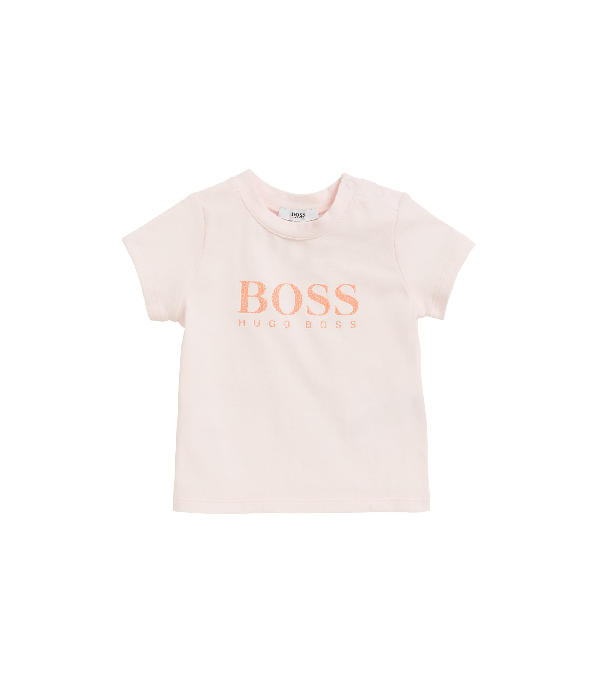 Baby T-shirt in stretch-cotton jersey with logo print, light pink