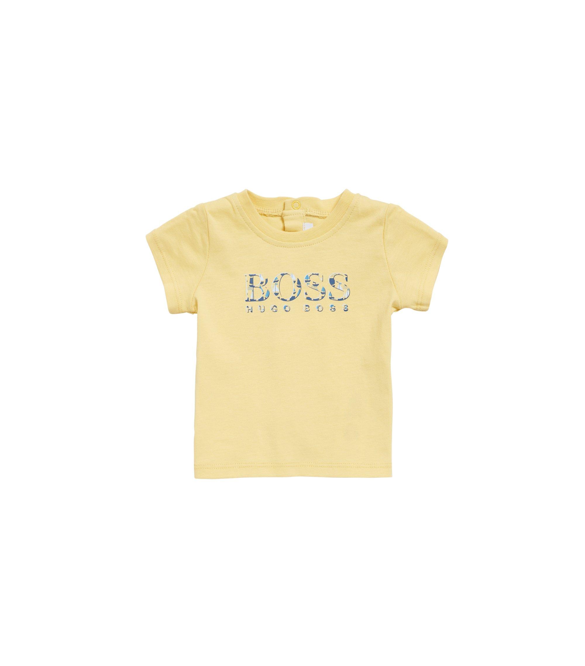 Baby-T-shirt met logo van zuivere katoenen jersey, Lichtgeel