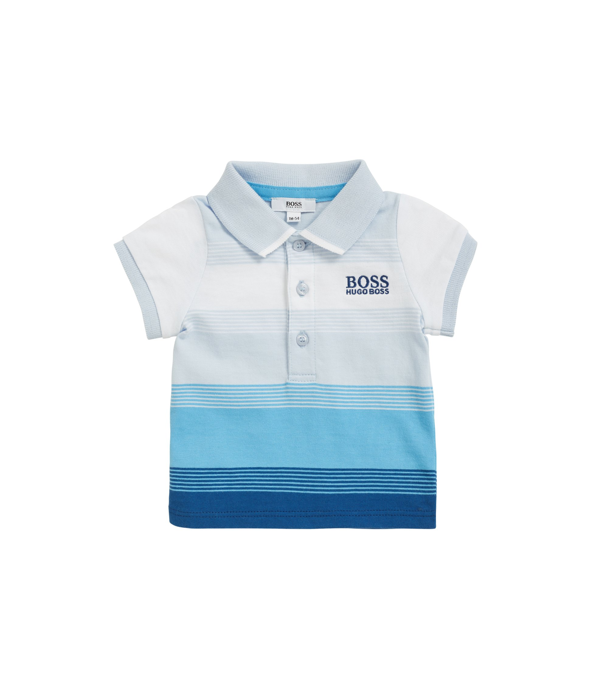 Baby polo shirt in striped cotton jersey, Light Blue